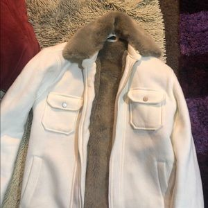 Armani exchange women's off white fur jacket